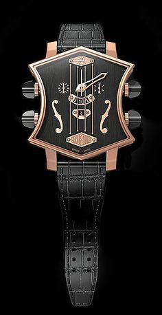 """ArtyA  Son of Sound watch collection , chronograph with a  patented Active Tuning Pegs System that features four active """"tuning peg"""" pushers for start/stop, reset, hour change and date change"""