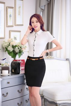 Asian Fashion, Girl Fashion, Womens Fashion, Executive Fashion, Office Attire, Skirt Suit, Pencil Dress, Beautiful Asian Girls, High Waisted Skirt