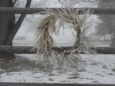 Heavy frost on wreath...my Mom's place. 2013
