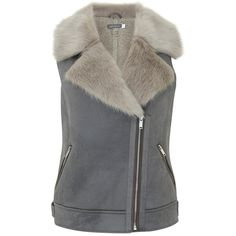 Mint Velvet Faux Fur Aviator Gilet (4 235 UAH) ❤ liked on Polyvore featuring outerwear, vests, mint velvet, sleeveless waistcoat, faux fur waistcoat, pocket vest and fake fur vests