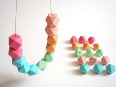 Pastel Geometric  Wood Beads, 20 Hand Painted wood Beads 12mm,Do it Yourself Geometric necklace