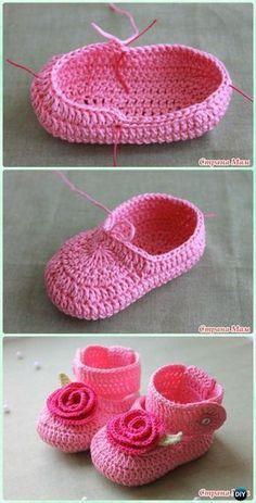 Crochet Rosy Buckle Baby Booties Free Pattern -Crochet Baby Booties Slippers Free Pattern