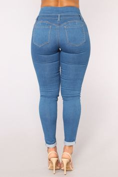 Available In Light Wash, Black , Dark Denim , And Medium Blue Button Push UpSkinny CropRoll Pocket JeanBooty Cotton Polyester Spandex Superenge Jeans, Skinny Jeans, Lit Outfits, Girls Jeans, Dark Denim, Jeans Style, Instagram Fashion, Amazing Women