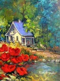 Porte-Folio I Nicole Coulombe - visual artist, Alma (QC) Canada Watercolor Landscape, Landscape Art, Landscape Paintings, Watercolor Paintings, Storybook Cottage, Cottage Art, Canadian Painters, Canadian Artists, Winter Painting