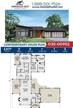 Checkout this one-story Contemporary design! Plan 035-00952 gives you 2,577 sq. ft., 3 bedrooms, 2.5 bathrooms, an open floor plan, a mud room, and a kitchen island. To learn more about this Contemporary design, go to our website. #contemporary #homes Contemporary House Plans, Contemporary Bathrooms, Contemporary Design, Floor Plan Drawing, Cost To Build, Construction Drawings, Floor Framing, Best House Plans, Flat Roof