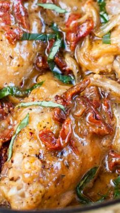 Clean Eating Creamy Sun-dried Tomato Chicken Recipe ~ The chicken is tender and falls off the bones.