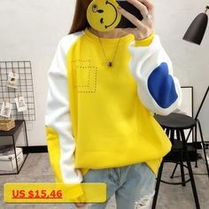 Yellow Orange Jumper Pullover Mixed Color Patchwork Harajuku Hoodies Sweatshirts Women Students Fleece Outerwear Loose Moletom