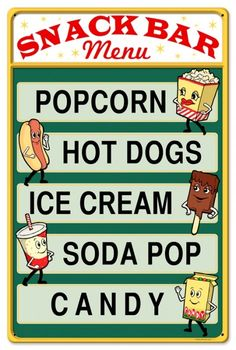 Snack Bar Menu Popcorn Hot Dogs Home Theater Sign - Retro Planet Backyard Movie Nights, Outdoor Movie Nights, Cream Soda, Ice Cream, Snack Bar, Monster Party, Man Cave Garage, Menu Bar, Bar Metal