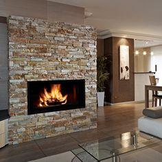 Fireplace with realstone white birch ledge stone crap - Decoration de cheminee avec insert ...