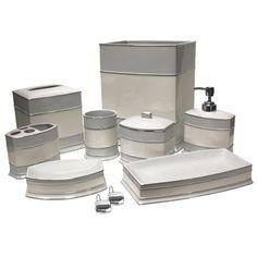 Carlisle Hotel Silver Ceramic Tissue Box - White with Silver Gray