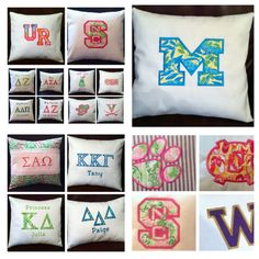 NAME YOUR COLLEGE-University-Embroidered Pillow for Your Dorm Room-Lilly Pulitzer Fabric. $44.00, via Etsy.