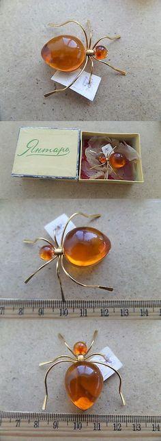 Amber 10191: Old Genuine Baltic Stone Amber Brooch Egg Yolk Natural Vintage Spider 6.3 G. N/R -> BUY IT NOW ONLY: $65 on eBay!