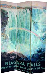 Art deco travel posters. American side of Niagara Falls by artist Frederic Madan. Printed on a room divider screen