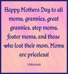Happy Mother's Day to all the great Moms out there.