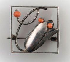 Friedrich Luttenberger. Silver and coral brooch. Vienna, c. 1925. 2.7 x 2.7 cm.  Marked: FL, 900, Austrian hallmark (hoopoe), 2, W.