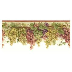 tuscan wallpaper borders for kitchen Tuscany Kitchen, Cypress Trees, Green Grapes, Old World Style, Tuscan Style, Wall Treatments, Red Purple, Dark Wood, Natural Materials