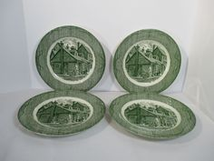 Old Curiosity Shop Green Dinner Plates Royal China Transferware Store Set of 4…