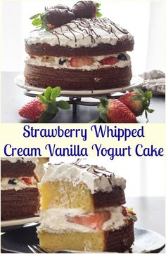 A delicious Vanilla Yogurt Cake filled with whipped cream and strawberries, topped with chocolate dipped strawberries and chocolate drizzle. via @https://it.pinterest.com/Italianinkitchn/