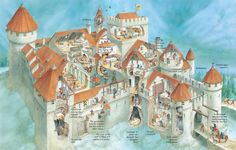 The Middle Ages, also known as medieval times, lasted from around 600 to Medieval World, Medieval Times, Medieval Castle, Fantasy Castle, Fantasy Map, Fantasy Town, Castle Layout, Castle Floor Plan, Castle Illustration