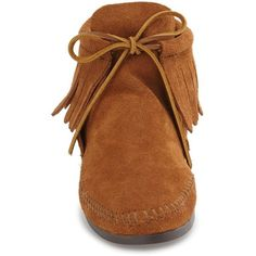 Women's Minnetonka Classic Fringed Chukka Style Boot ($47) ❤ liked on Polyvore featuring shoes, boots, chukka boots, fringe boots, bootie boots, short suede boots and suede boots