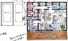 回遊動線。洗面の位置がいい! Craftsman Floor Plans, House Floor Plans, Japan Architecture, Material Board, Room Planning, Japanese House, House Design, Flooring, Sweet Home