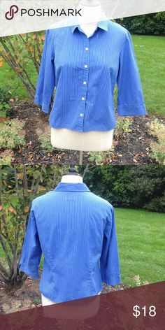 Ann Taylor Blouse Button down blue striped blouse with 3/4 length sleeves. Sleeves have a slit at the end of the cuff. Really cute!! 100% cotton. Ann Taylor Tops Blouses