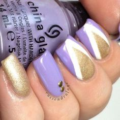 purple & gold nails