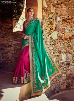 GREEN AND PINK TUSSAR SILK SAREE WITH EMBROIDERY WORK