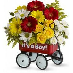 FDH Baby's Wow Wagon !  Hitch your wagon to a star! This little red wagon is a #Flower arrangement and #Nursery_Decoration all in one.
