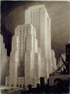Hugh Ferriss' architectural sketches, 1915-1961