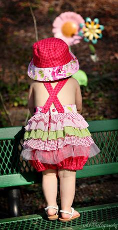 Ruffled Romper Custom made for Babies and Little Girls by pinkmouse, $41.00