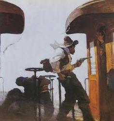 "N.C. Wyeth - ""McKeon's Graft""  (""Train Robbery,"") c.1912"