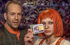 """Bruce Willis y Milla Jovovich en """"El quinto elemento"""", 1997"""