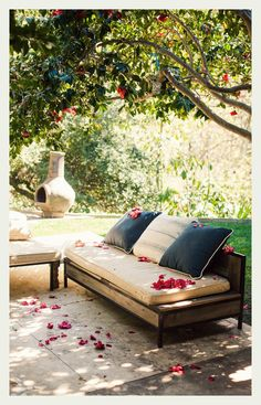 Outdoor day bed under a shady old tree in the backyard. I could lose hours here...