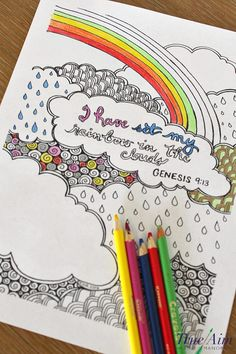 6 Free bible verse coloring pages to help with memorization and reflection - genesis 913 - I have set my rainbow in the clouds