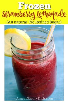 All Natural, No Refined Sugar Frozen Strawberry Lemonade is an all-natural, refreshing summer drink with no refined sugar! It has me dreaming of hot, summer days. Frozen Strawberry Lemonade, Frozen Strawberries, Healthy Lunches For Kids, Healthy Meals, Easy Meals, Citrus Vodka, Summer Drink Recipes, Refreshing Summer Drinks, Frozen Drinks
