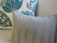 Striped Pillow  Teal and Brown Fancy Striped by PillowscapeDesigns