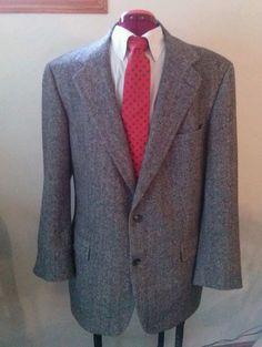 Brooks Brothers Herringbone Wool Blazer Mens 42R Black & White  #BrooksBrothers #TwoButton