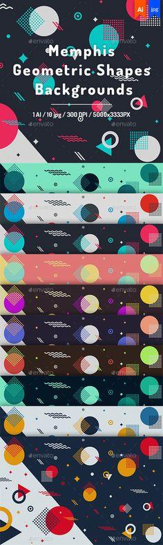 #Memphis Geometric Shapes #Backgrounds - Backgrounds Graphics