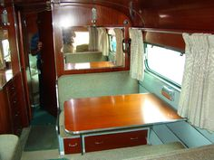 29 New Ideas Green Campers Interior Road Trips Teardrop Camper Interior, Teardrop Camper Trailer, Bus Interior, Trailer Interior, Vintage Campers Trailers, Vintage Caravans, Vintage Airstream, Rv Trailers, Camping Trailers