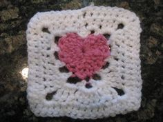 Crochet Every Day: Feb 8: Heart Afghan Square (Love) - COMPLETED
