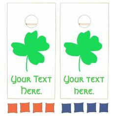 Add Your Text Shamrock Cornhole Game Boards Set - saint patricks day st patricks holiday ireland irsih special party