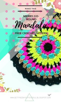Confetti Merry-Go-Round Mandala   Free Crochet Pattern - Make this sweet floral centered crochet mandala using a quick and easy combination of trebles (US dc), puff stitches and chains with this week's free Monday Mandala crochet pattern.