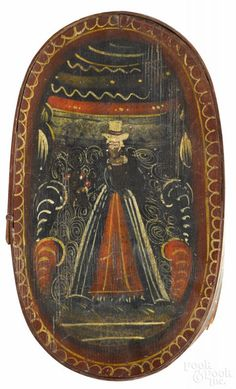 Continental painted bentwood bride's box, 19th c., retaining its original polychrome surface - Price Estimate: $400 - $800