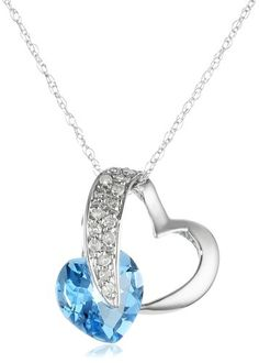 LOVE ME TENDER LOVE ME BLUE: 10k White Gold Heart Blue Topaz Diamond Pendant Necklace (1/10 cttw, I-J Color, I2-3 Clarity), 18""