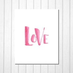 Love, Pink Black Hand Lettering, Printable Wall Art Room Decor Office Decor Kids Room, Valentine Wedding Birthday Gift, Instant Download by TheDancingFingers on Etsy