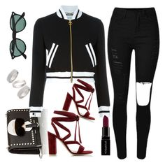 """Untitled #1526"" by anarita11 ❤ liked on Polyvore featuring Fendi, Moschino, Gianvito Rossi, Smashbox, Topshop and Ray-Ban"