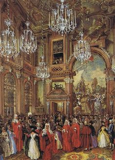 Charles de Beistegui's Ball in Venice in 1951. Watercolor by Alexandre Serebriakoff.