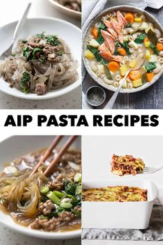 These AIP Pasta recipes are the perfect dishes for those missing the pasta dishes of their past. This epic list includes cassava flour pasta, vegetables, and sweet potato starch noodles. Allergy Free Recipes, Paleo Recipes, Real Food Recipes, Pasta Dishes, Food Dishes, Main Dishes, Paleo Pasta, Pasta Sauce Recipes, Sweet Potato Noodles
