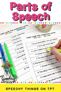 Parts of Speech Activities for Speech therapy or language worksheets for the classroom - Fun AdLibs to target nouns, verbs, and adjectives,
